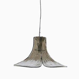 Lámpara Mid-Century en forma de hoja de gingko y cristal ahumado de JT Kalmar para Franken KG