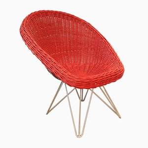 Mid-Century Red Rattan Lounge Chair by Teun Velthuizen for Urotan, the Netherlands, 1950s