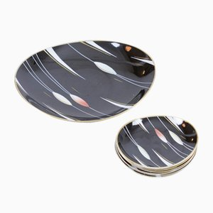 Art Deco Plate Set from Weimar Porcelain, Set of 7