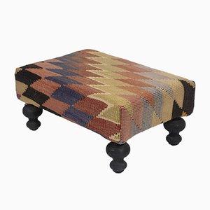 Turkish Anatolian Striped Kilim Footstool