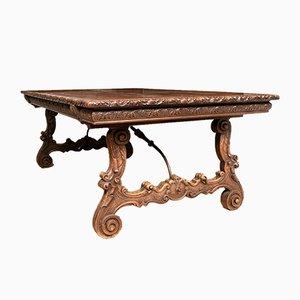 Antiker Baronial Tisch aus geschnitztem Nussholz