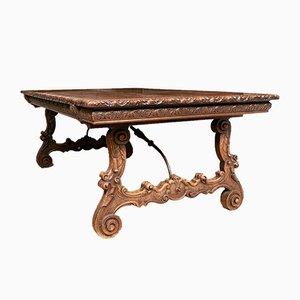 Antique Carved Walnut Baronial Table