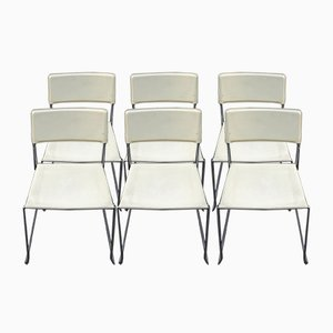 Italian Cream Crust Leather Stackable Dining Chairs, 1970s, Set of 6