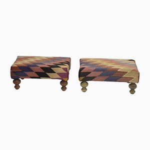 Small Turkish Kilim Ottomans with Wooden Legs, Set of 2