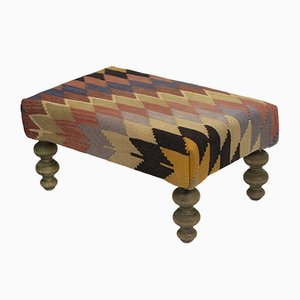 Turkish Hand Woven Kilim Footstool
