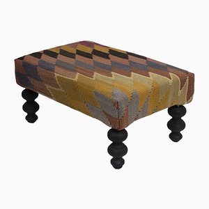Turkish Tribal Kilim Footstool