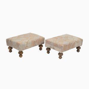 Vintage Kilim Upholstered Footstools, Set of 2