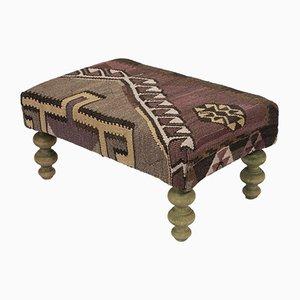 Vintage Kilim Upholstered Footstool