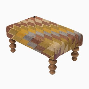 Small Turkish Kilim Ottoman with Wooden Legs