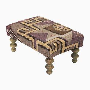 Ottomana Kilim con gambe in legno