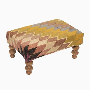 Small Kilim Ottoman with Wooden Legs