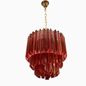Murano Rose Prism Chandelier by Paolo Venini for Murano, 1960s