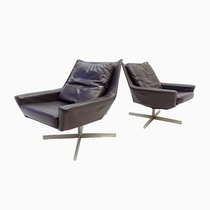 Brown Leather Lounge Chairs from Rolf Benz, 1960s, Set of 2
