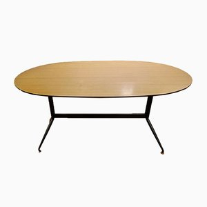 Italian Trestle Dining Table With Tubular Steel and Laminate On Plywood