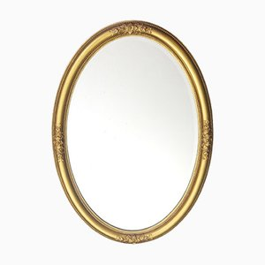 Late-19th Century Gilt Oval Beveled Mirror with Acanthus Decoration, 1880s