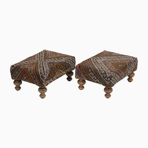 Turkish Kilim Footstools, Set of 2