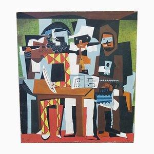 Bert, Cubist Musicians with Masks, 1964, Panel Painting