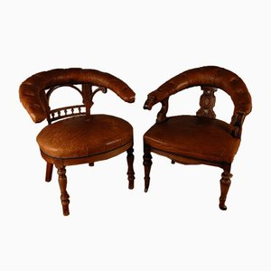 Tufted Sheepskin Leather Barrel Back Desk Chairs, Set of 2