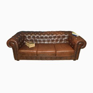 Vintage Chesterfield Style Brown-Black 3-Seat Sofa, 1970s