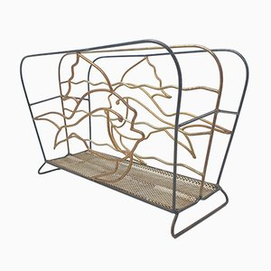 Mid-Century Metal Magazine Rack with Fishes, 1950s