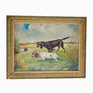 Joseph Becker, Hunting Dogs, 1940s, Painting