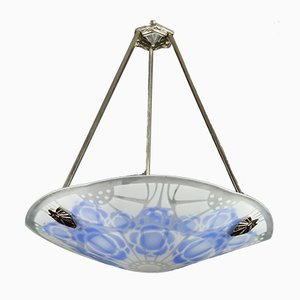 Art Deco Blue and White Glass Pendant Light from Loys Lucha, 1930s