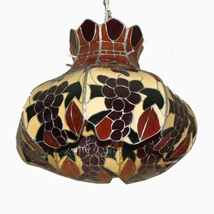 Antique Stained Glass Ceiling Lamp from Tiffany, 1900s