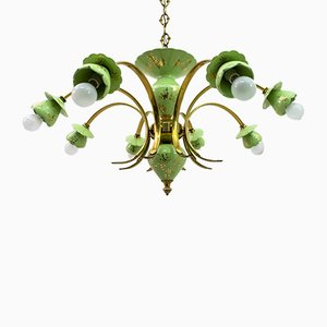 Italian Neoclassical Porcelain and Brass 8-Light Chandelier, 1960s