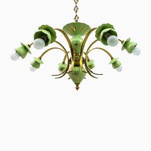 Neoklassizistischer italienischer Kronleuchter aus Porzellan & Messing mit 8 Leuchten, 1960er