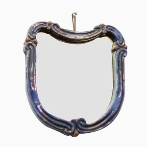 Art Deco Blue Ceramic Wall Mirror from Gmundner Keramik