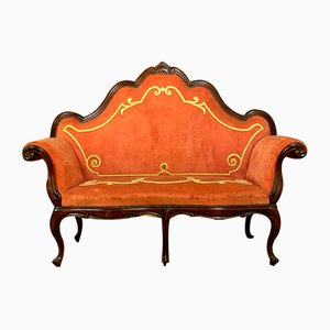 Italian Louis XV Baroque Walnut High Back Sofa