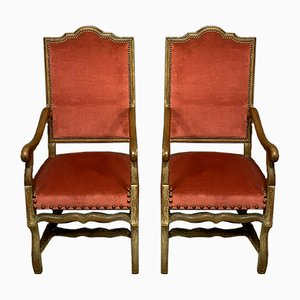 Antique Louis XIII Ceruse Blond Oak Lounge Chairs, 1900s, Set of 2