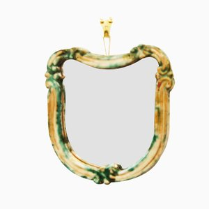 Green Art Deco Ceramic Wall Mirror from Gmundner Keramik