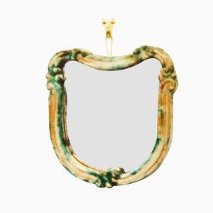 Grüner Art Deco Wandspiegel mit Keramik von Gmundner Keramik