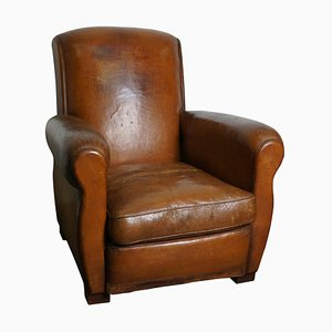 Vintage French Cognac-Colored Leather Club Chair, 1940s