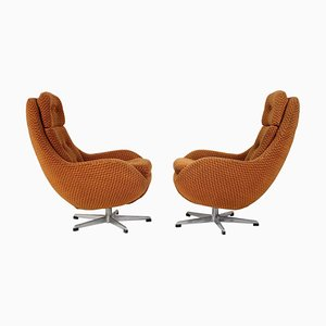 Orange Wing Chairs from Interiér Praha, 1970s, Set of 2