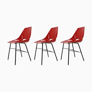 Czechoslovakian Red Fiberglass Dining Chairs, 1960s, Set of 3
