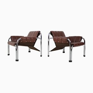 Chrome Armchairs by William Chlebo, 1980s, Set of 2