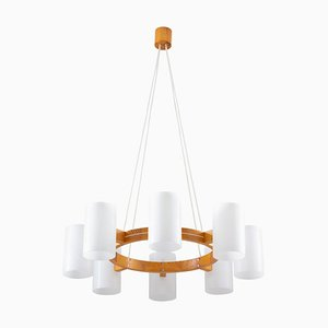 Large Swedish Midcentury Chandelier in Pine and Acrylic by Östen Kristiansson for Luxus, 1960s
