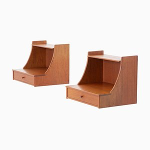 Scandinavian Midcentury Wall Mounted Bedside Tables by Carl Malmsten, 1960s, Set of 2