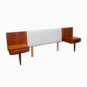 Mid-Century Headboard with Bedside Table Cabinet from G-Plan