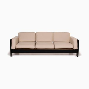 Bastiano Leather Sofa Cream Three-Seater Sofa by Afra Scarpa for Knoll International