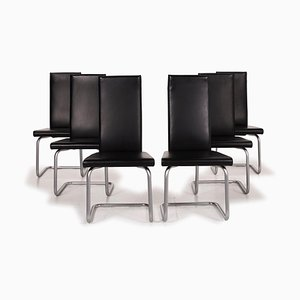 Black Leather Dining Chairs from Ronald Schmitt, Set of 6