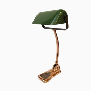 Art Nouveau Copper Plated Banker's Lamp from LUX