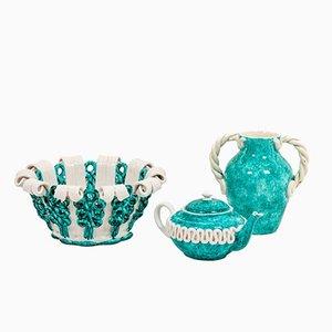 Sainte-radegonde Fabrik, Geschirr aus Keramik in Blau und Weiß, 1950er