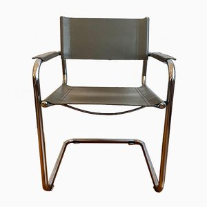 Cantilever Chair With a Chrome and Leather Frame, 1970s
