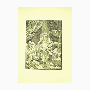 Ferdinand Bac , The Fountain , Original Lithograph by F. Bac , 1922