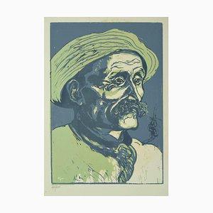 Giuseppe Viviani , Portrait of Old Man , Original Woodcut by Giuseppe Viviani , 1927