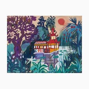 Jean, Raymond Delpech, Tropical Landscape, Original Aquarell Zeichnung von Jean Delpech, 1960er