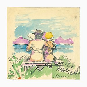 Mino Maccari, The Hug, Original Zeichnung von Mino Maccari, 1970